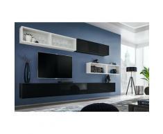 Price Factory - Ensemble meuble TV mural CUBE 14 design coloris noir et blanc. Meuble de salon