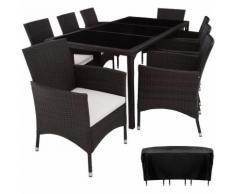 Salon de jardin VALENCIA - 8 Places 1 Table en Résine Tressée Structure Acier Marron foncé + Housse