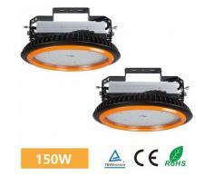 2×Anten UFO Projecteur LED 150W Industriel Phare de Travail de Super Luminosité 22000LM Spot High