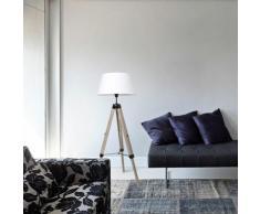 Lampadaire trépied hauteur réglable 71-114 cm lampe de sol 40 W bois style nordique - blanc - Blanc