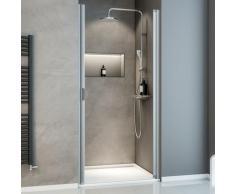 Porte de douche pivotante, 80 x 180 cm, verre transparent 5 mm Sunny, profilé alu-argenté - Décor