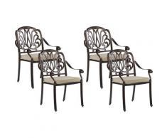 Lot de 4 chaises de jardin en aluminium marron foncé ANCONA