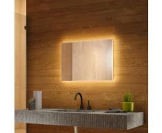 Miroir de Salle de Bain Rétro-Éclairé Blanc Chaud avec désembuage k703BLWW - Couleur LED : Ampoules