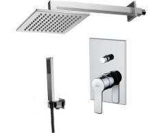 Solution de douche complète avec: pommeau de douche carré, mélangeur et set de douchette.(code