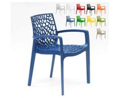 Chaise en polypropylène accoudoirs jardin café Gruvyer Arm | Bleu - Grand Soleil