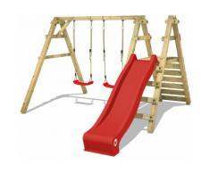 Portique balançoire Aire de jeux Sky Slider Prime avec toboggan rouge - Wickey