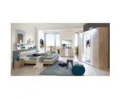 Chambre adulte complète, imitation chêne, rechampis verre blanc + chrome - Dim : 180 x 200 cm