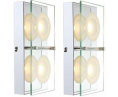 Luxe ensemble de 2 appliques murales LED salle à manger en verre lampes radiateur chrome EEK A
