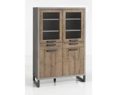 Vaisselier 4 portes marron et gris - BROOKLYN - Bois naturel et gris