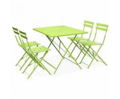Salon de jardin bistrot pliable Emilia rectangulaire vert anis avec quatre chaises pliantes, acier