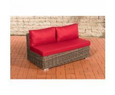 Canapé de 2 places élément de milieu Tessera rond/gris métallique Rouge rubin