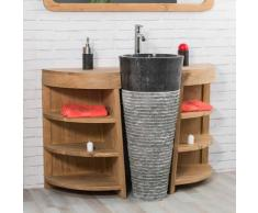 Wanda Collection - Meuble sous vasque en teck Florence 120cm + vasque noir