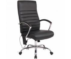 Fauteuil de bureau Valais avec fonction de massage en tissu ou en similicuir noir Similicuir