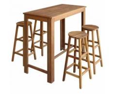Hommoo Table et tabourets de bar 5 pcs Bois d'acacia massif