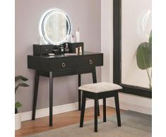 WYCTIN®Coiffeuse Table de Maquillage Commode avec Miroir 2 Grands Tiroirs Coulissants avec Chaise