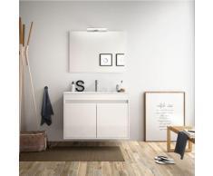 Meuble de salle de bain suspendu 80 cm Blanc laque avec deux portes | Avec miroir et lampe LED