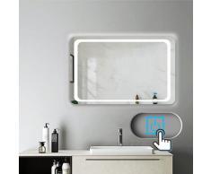 Miroir salle de bain 100x70cm anti-buée Mural Lumière Illumination avec éclairage LED