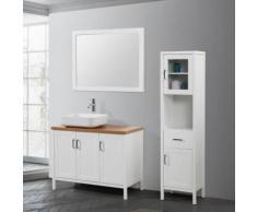 Hoa blanc & bois : Ensemble de salle de bain : 1 meuble sous-vasque, 1 meuble colonne, 1 vasque, 1