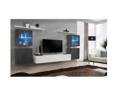 Ensemble meuble salon mural SWITCH XIV design, coloris blanc et gris brillant. - Blanc