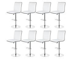 8 ×tabourets de bar réglables avec dossier chaise de bar pour cuisine blanc