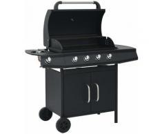 Barbecue à gaz 4+1 zones de cuisson Noir