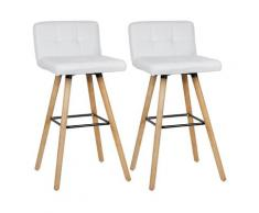 Wyctin - Lot de 4 Tabouret de bar haute - Pieds en bois h?tre + Rev?tement en tissu blanc - chaise