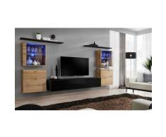 Ensemble meuble salon mural SWITCH XIV design, coloris noir brillant et chêne Wotan. - Noir