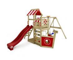 WICKEY Aire de jeux Portique bois SeaFlyer avec balançoire et toboggan rouge Cabane enfant