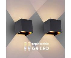 2 Pièces Appliques Murales, Appliques Murales Interieur/Extérieur 3.8W 3000K G9 LED remplaçable,