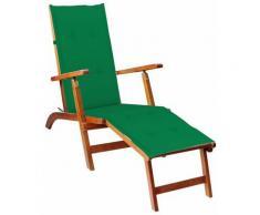 Vidaxl - Chaise de terrasse avec repose-pied et coussin Acacia solide