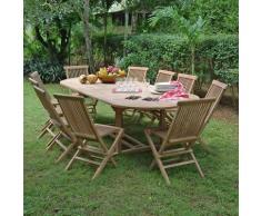 Salon de jardin en teck Ecograde Timaru, table extensible 2 à 3 m + 10 chaises Java