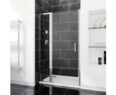SIRHONA Porte de douche 106 x 185 cm porte pivotante en niche avec étagère en verre - FFP76+FEXT30S