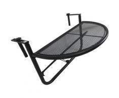 Outsunny - Table suspendue pour balcon dim. 60L x 45l cm hauteur réglable 3 niveaux métal époxy noir