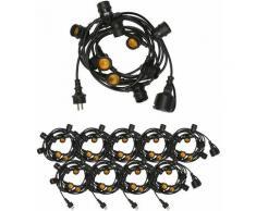 Guirlande Guinguette IP65 100m Noire Raccordable - Guirlande Lumineuse pour ampoule E27 100