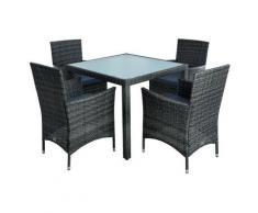 Ensemble de meubles de jardin en polyrattan Ensemble de salle à manger - gris