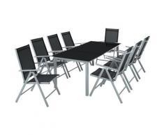 Salon de Jardin avec 8 Chaises Pliantes et 1 Table en Verre et en Aluminium Gris clair Noir
