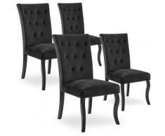 Intensedeco - Lot de 4 chaises capitonnées Chaza Velours Noir