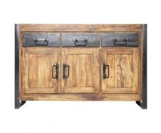 Made In Meubles - Enfilade Vintage en bois d'acacia foncé - Metal noir