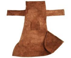 Plaid avec manches - couverture à manches douce, plaid à canapé, couverture polaire - marron, 180 x