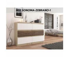 MUNICH S1   Commode contemporaine chambre salon bureau   140x77x30   Dressing 6 tiroirs   Meuble de