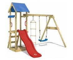 Aire de jeux Portique bois TinyCabin avec balançoire et toboggan rouge Maison enfant exterieur avec