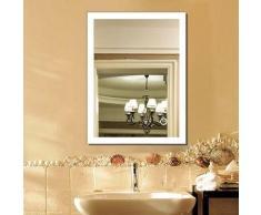 Miroir Salle de Bain Miroir Mural 70*50CM en Mercure Nouvelle Génération Anti-Brouillard Bouton