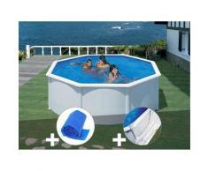 Kit piscine acier blanc Fidji ronde 3,70 x 1,22 m + Bâche à bulles + Tapis de sol - GRÉ