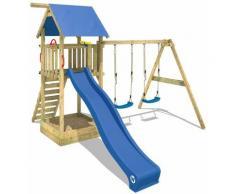 WICKEY Aire de jeux Portique bois Smart Empire avec balançoire et toboggan bleu Maison enfant