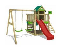 Aire de jeux Portique bois JazzyJungle avec balançoire et toboggan rouge Maison enfant exterieur