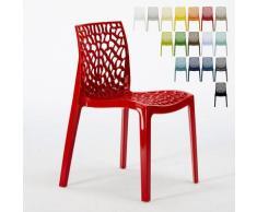 Chaise en polypropylène nid d'abeille cuisine bar café Gruvyer Rouge - Grand Soleil