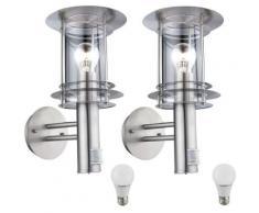 Set de 2 appliques, façades, lampes en acier inoxydable, détecteurs de mouvement dans un ensemble