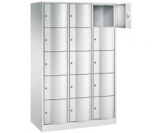 CP Armoire à casiers verrouillables - h x l x p 1950 x 1150 x 540 mm, 15 casiers - gris clair RAL