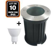 Lot de 10 Spot Encastrable de Sol Rond Inox 316 Extérieur IP65 + Ampoule GU10 7W Blanc Froid 6000K