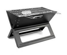 Barbecue pliable et transportable avec poignée pratique en inox bac à Charbon Acier Noir grill été